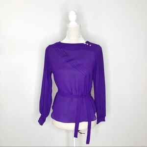 Vintage East West of California Purple Sheer Top S